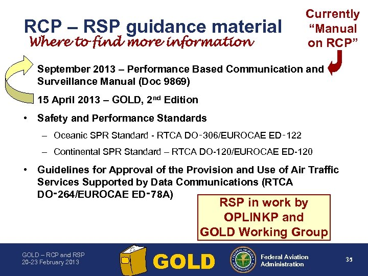 "RCP – RSP guidance material Where to find more information Currently ""Manual on RCP"""