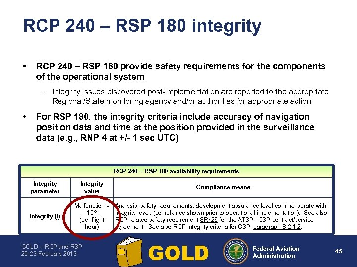 RCP 240 – RSP 180 integrity • RCP 240 – RSP 180 provide safety