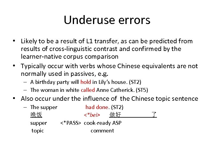 Underuse errors • Likely to be a result of L 1 transfer, as can