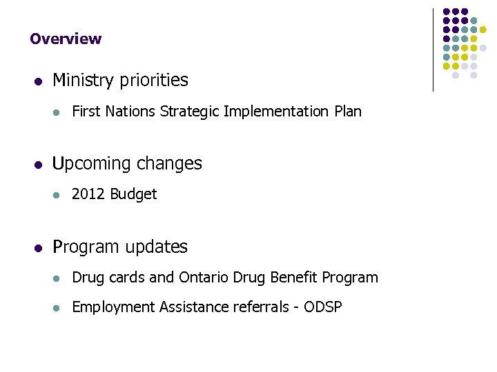 Ontario Works Program Update Onwaa Spring Assembly May