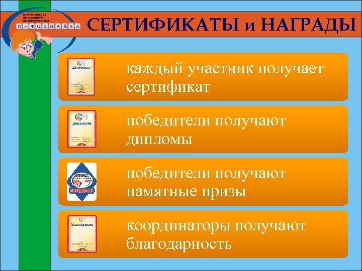 СЕРТИФИКАТЫ и НАГРАДЫ каждый участник получает сертификат победители получают дипломы победители получают памятные призы