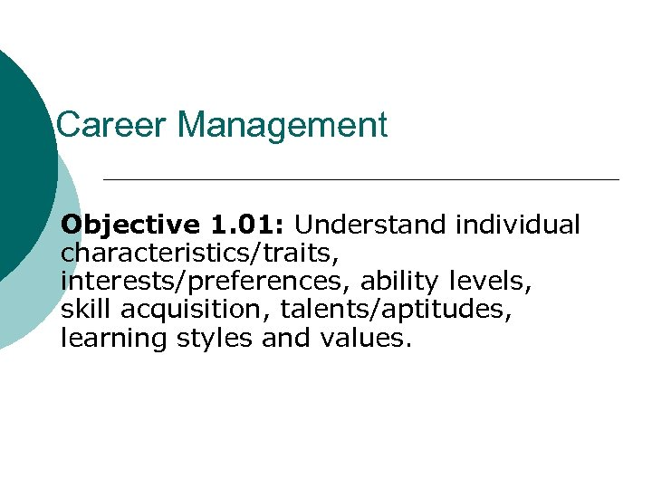 Career Management Objective 1. 01: Understand individual characteristics/traits, interests/preferences, ability levels, skill acquisition, talents/aptitudes,