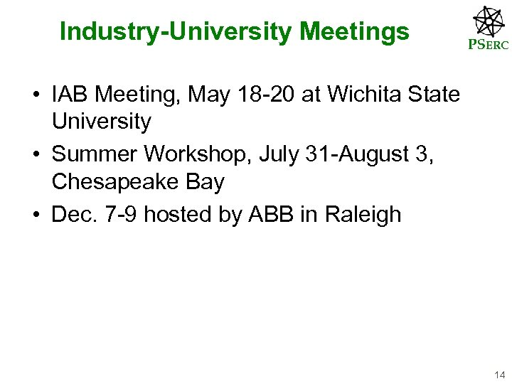 Industry-University Meetings PSERC • IAB Meeting, May 18 -20 at Wichita State University •