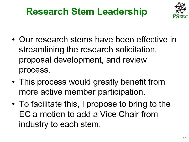 Research Stem Leadership PSERC • Our research stems have been effective in streamlining the