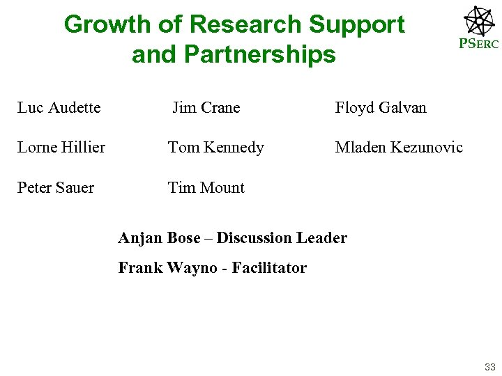 Growth of Research Support and Partnerships PSERC Luc Audette Jim Crane Floyd Galvan Lorne