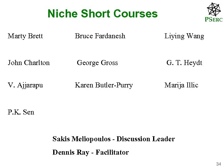 Niche Short Courses PSERC Marty Brett Bruce Fardanesh Liying Wang John Charlton George Gross