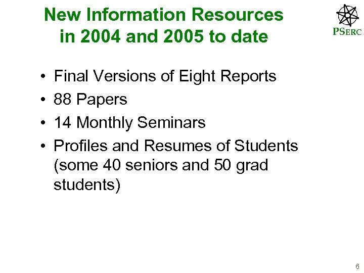 New Information Resources in 2004 and 2005 to date • • PSERC Final Versions