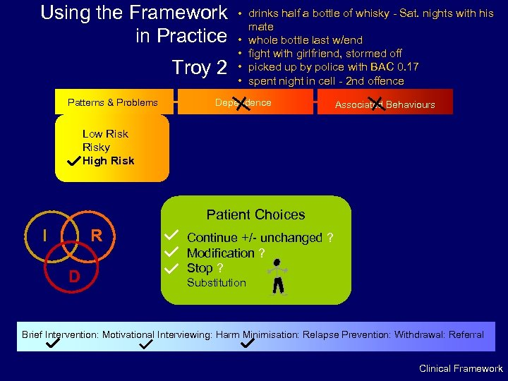 Using the Framework in Practice Troy 2 Patterns & Problems • drinks half a