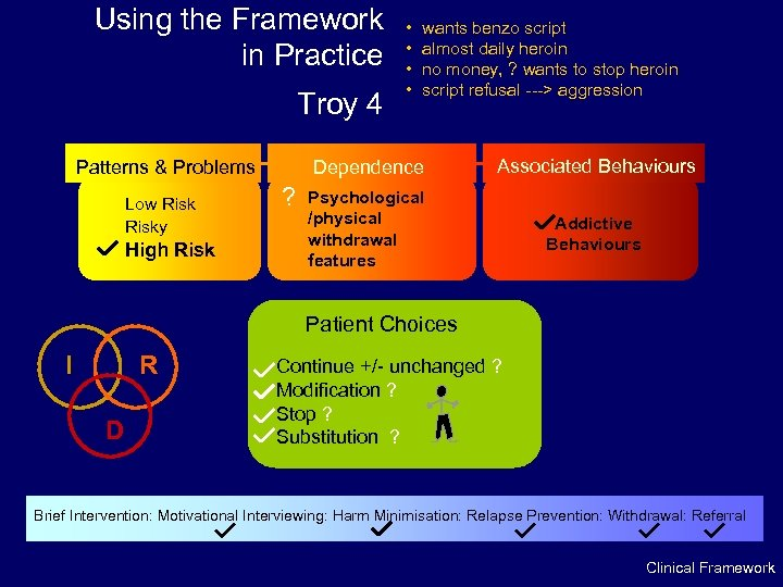 Using the Framework in Practice Troy 4 High Risk wants benzo script almost daily