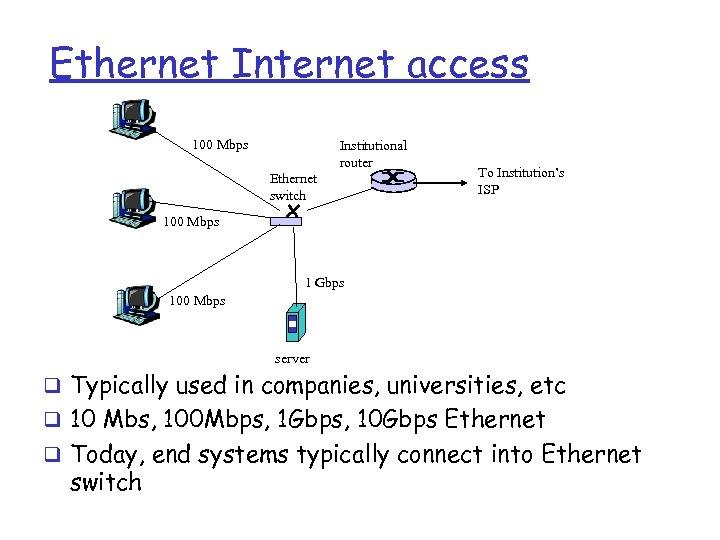 Ethernet Internet access 100 Mbps Institutional router Ethernet switch To Institution's ISP 100 Mbps