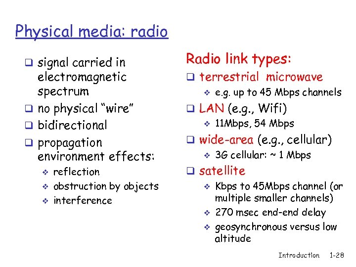 """Physical media: radio q signal carried in electromagnetic spectrum q no physical """"wire"""" q"""