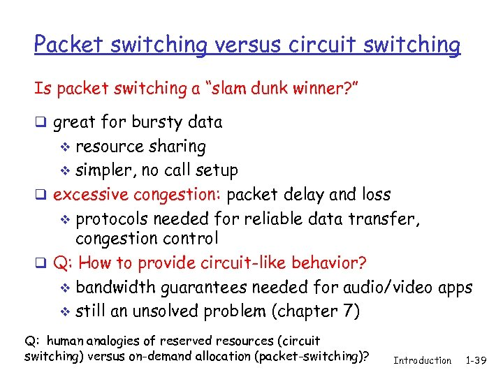 """Packet switching versus circuit switching Is packet switching a """"slam dunk winner? """" q"""