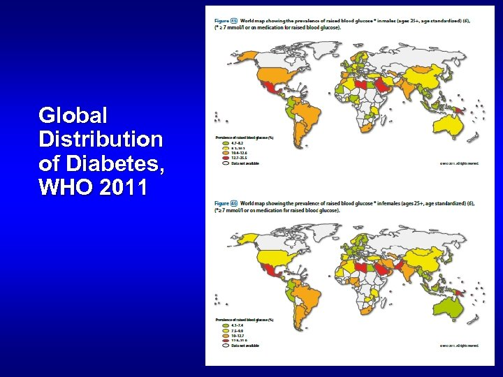 Global Distribution of Diabetes, WHO 2011