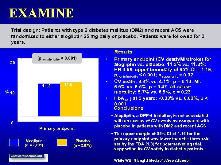 EXAMINE Trial design: Patients with type 2 diabetes mellitus (DM 2) and recent ACS