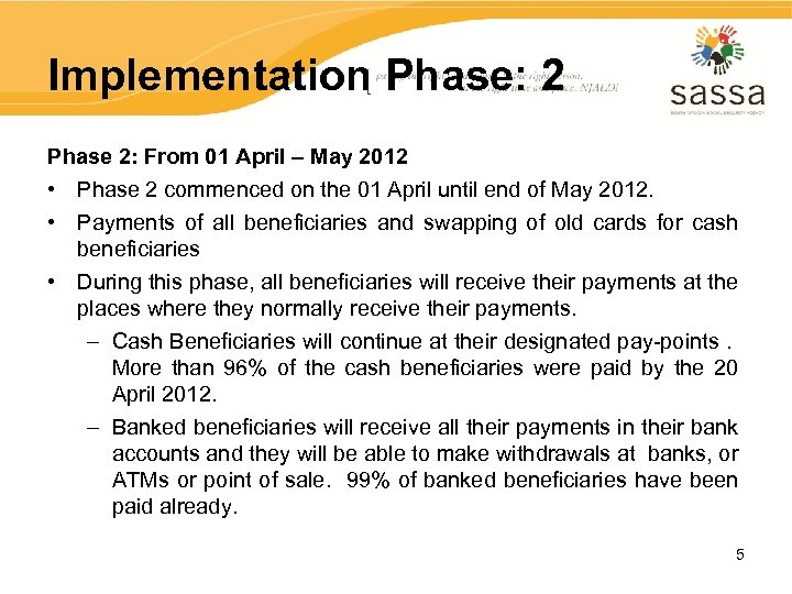 Implementation Phase: 2 Phase 2: From 01 April – May 2012 • Phase 2