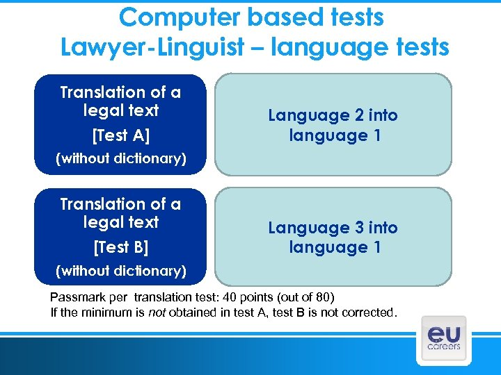Computer based tests Lawyer-Linguist – language tests Translation of a legal text [Test A]