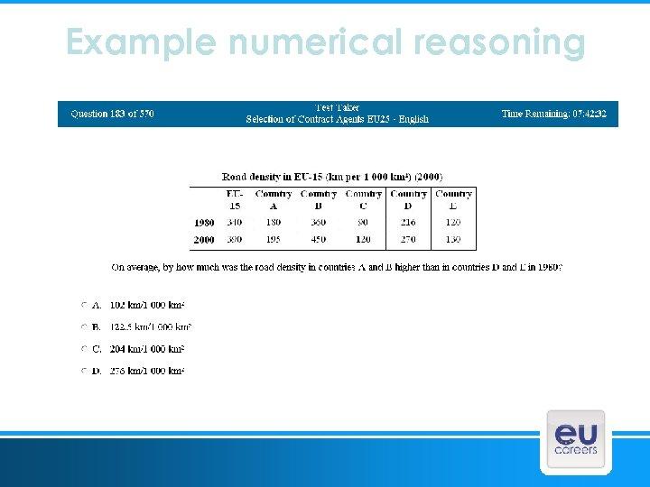 Example numerical reasoning