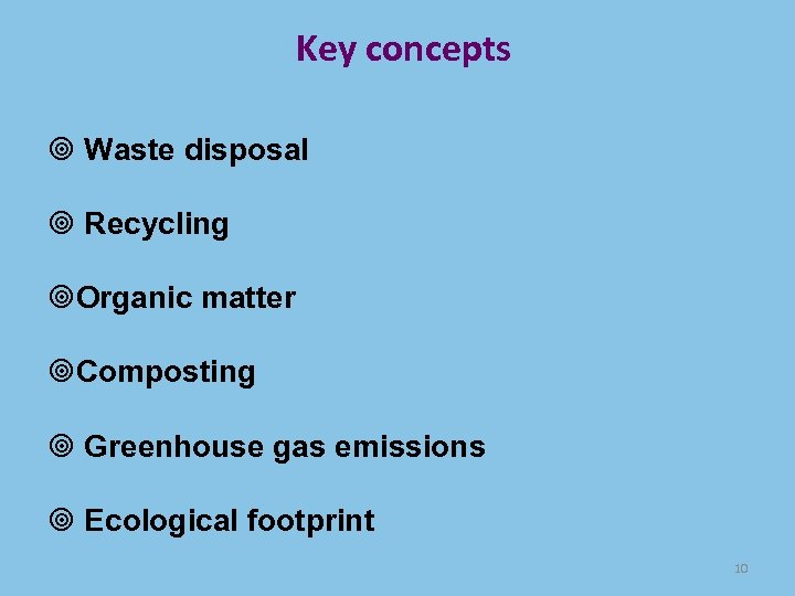 Key concepts Waste disposal Recycling Organic matter Composting Greenhouse gas emissions Ecological footprint 10