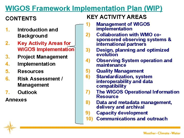 WIGOS Framework Implementation Plan (WIP) CONTENTS 1. Introduction and Background 2. Key Activity Areas