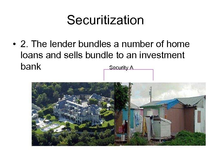 Securitization • 2. The lender bundles a number of home loans and sells bundle