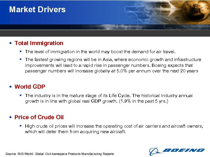 Market Drivers § Total Immigration § The level of immigration in the world may