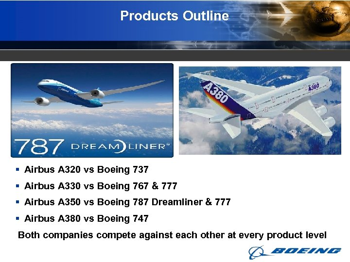 Products Outline § Airbus A 320 vs Boeing 737 § Airbus A 330 vs