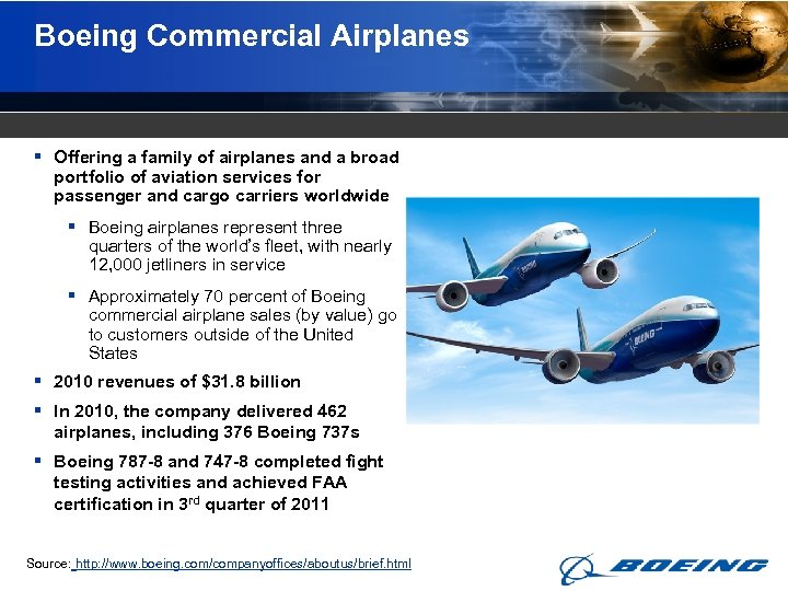 Boeing Commercial Airplanes § Offering a family of airplanes and a broad portfolio of