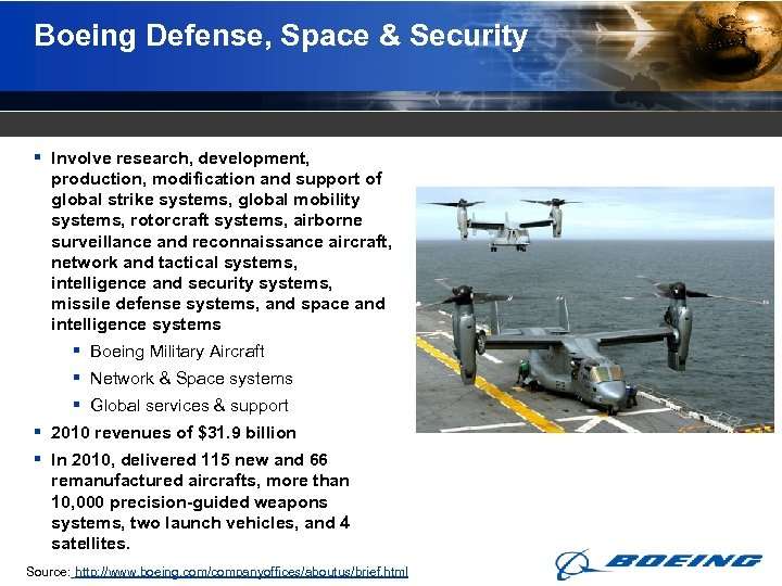 Boeing Defense, Space & Security § Involve research, development, production, modification and support of