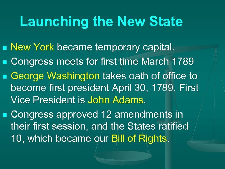 Launching the New State n n New York became temporary capital. Congress meets for