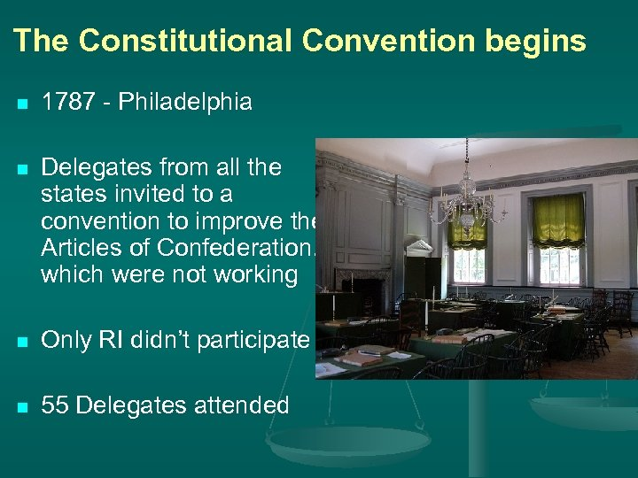 The Constitutional Convention begins n 1787 - Philadelphia n Delegates from all the states