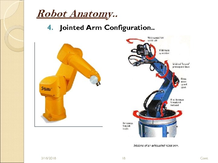 Robot Anatomy. . 4. Jointed Arm Configuration. . 3/16/2018 18 Cont.