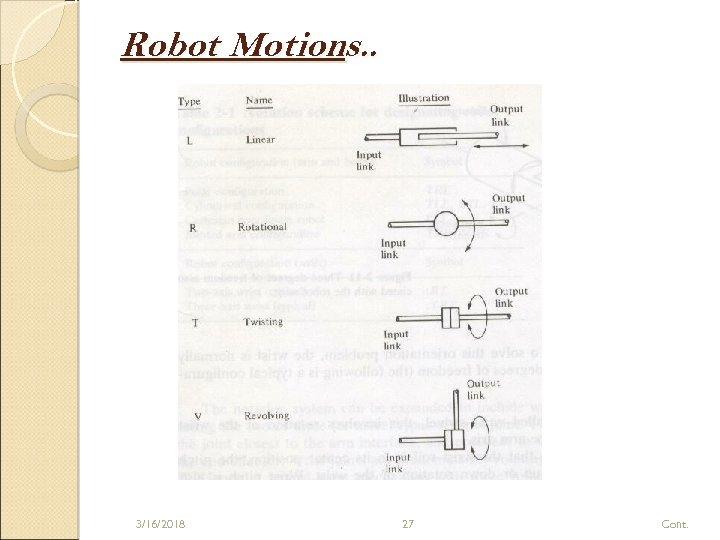 Robot Motions. . 3/16/2018 27 Cont.