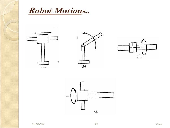 Robot Motions. . 3/16/2018 29 Cont.
