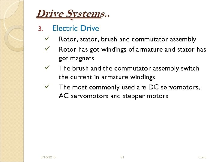Drive Systems. . Electric Drive 3. ü ü 3/16/2018 Rotor, stator, brush and commutator