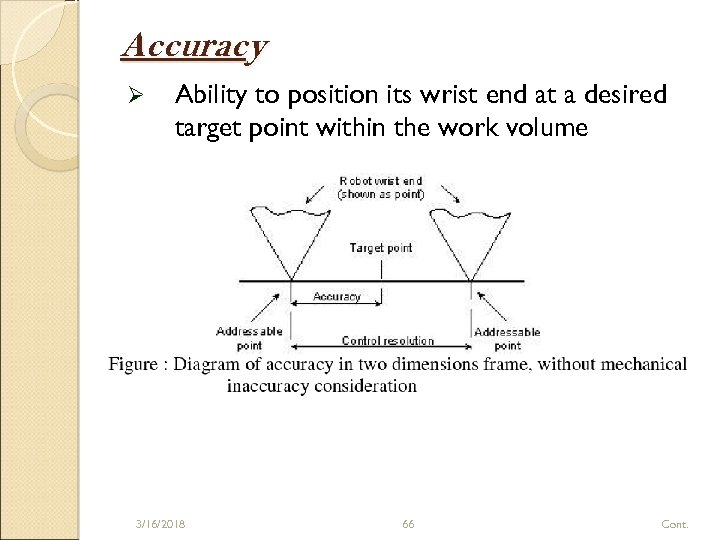Accuracy Ø Ability to position its wrist end at a desired target point within
