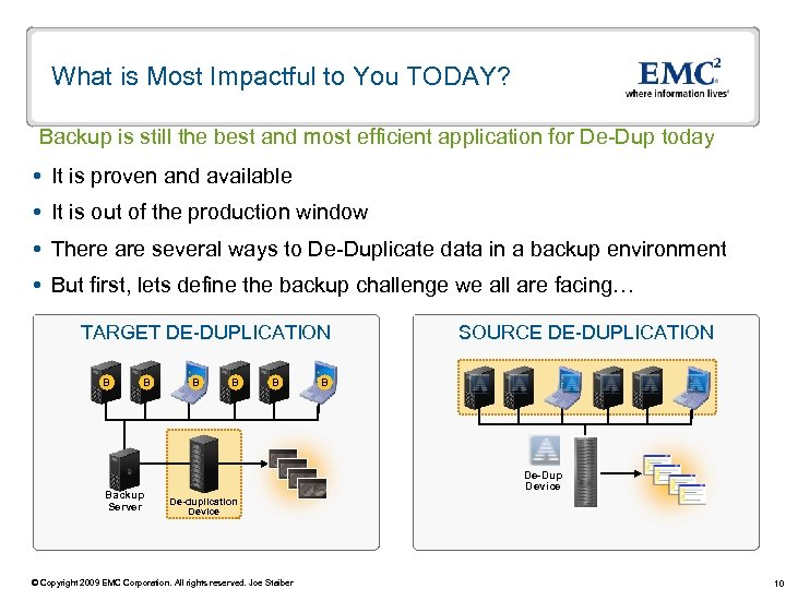 What is Most Impactful to You TODAY? Backup is still the best and most