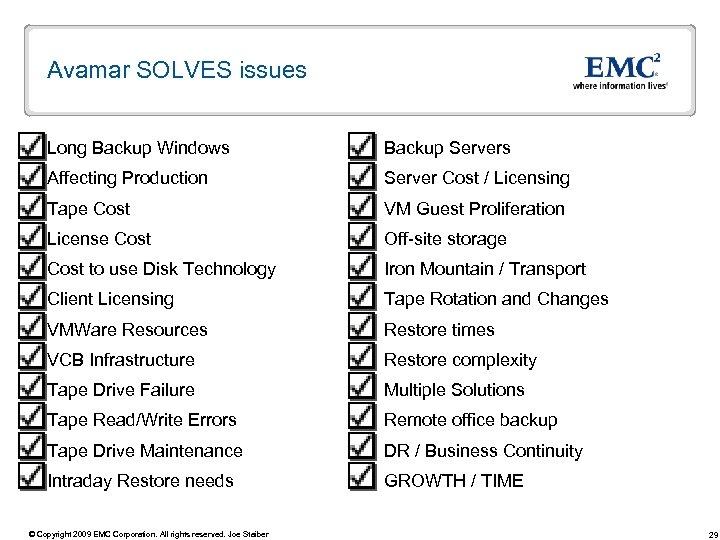 Avamar SOLVES issues Long Backup Windows Backup Servers Affecting Production Server Cost / Licensing