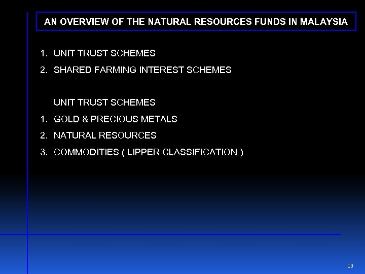 AN OVERVIEW OF THE NATURAL RESOURCES FUNDS IN MALAYSIA 1. UNIT TRUST SCHEMES 2.