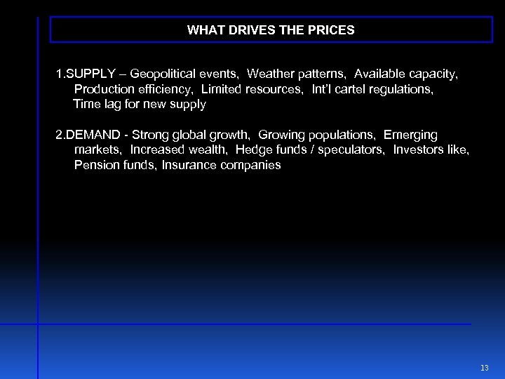 WHAT DRIVES THE PRICES 1. SUPPLY – Geopolitical events, Weather patterns, Available capacity, Production