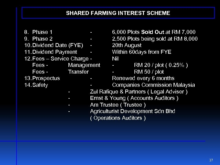 SHARED FARMING INTEREST SCHEME 8. Phase 1 6, 000 Plots Sold Out at RM