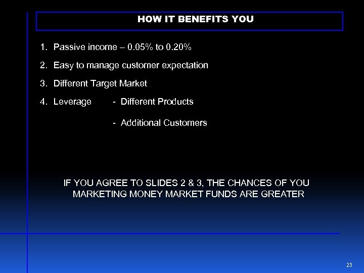 HOW IT BENEFITS YOU 1. Passive income – 0. 05% to 0. 20% 2.