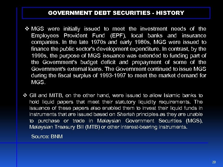 GOVERNMENT DEBT SECURITIES - HISTORY v MGS were initially issued to meet the investment