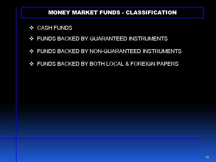 MONEY MARKET FUNDS - CLASSIFICATION v CASH FUNDS v FUNDS BACKED BY GUARANTEED INSTRUMENTS