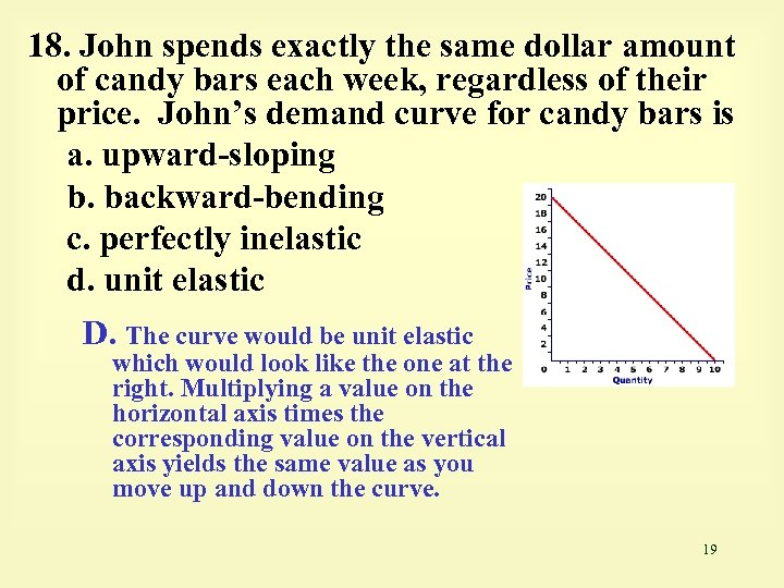 18. John spends exactly the same dollar amount of candy bars each week, regardless