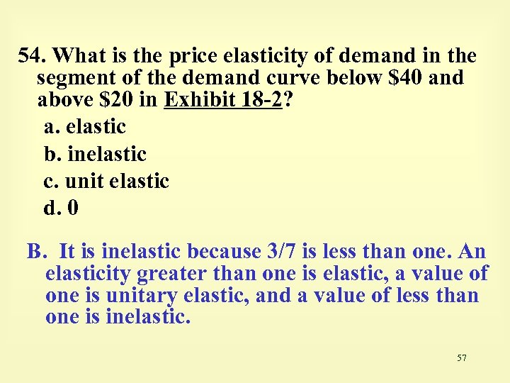 54. What is the price elasticity of demand in the segment of the demand