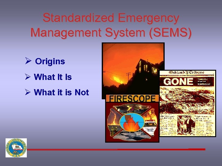 Standardized Emergency Management System (SEMS) Ø Origins Ø What It Is Ø What it
