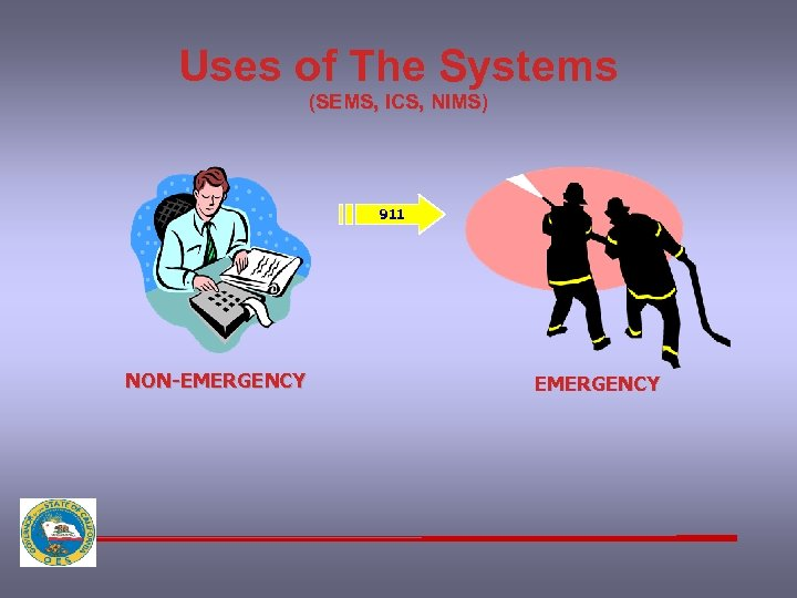 Uses of The Systems (SEMS, ICS, NIMS) 911 NON-EMERGENCY