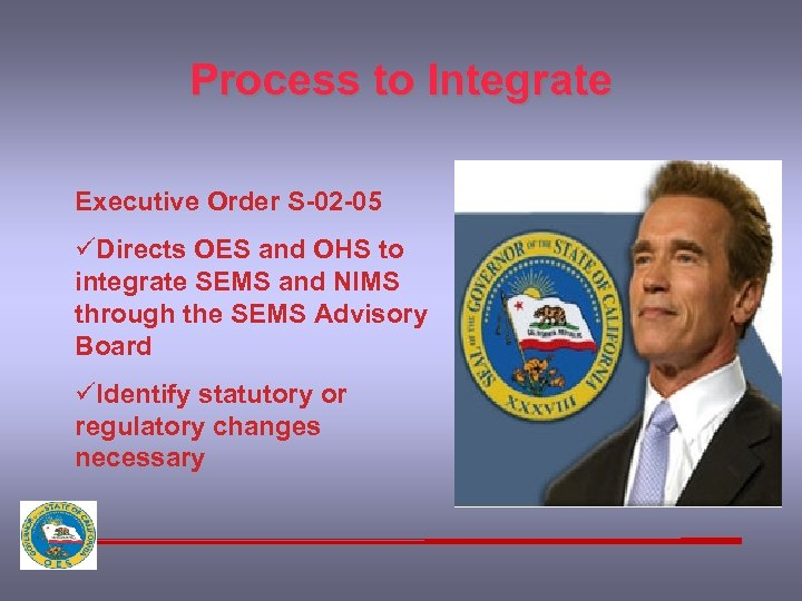 Process to Integrate Executive Order S-02 -05 üDirects OES and OHS to integrate SEMS