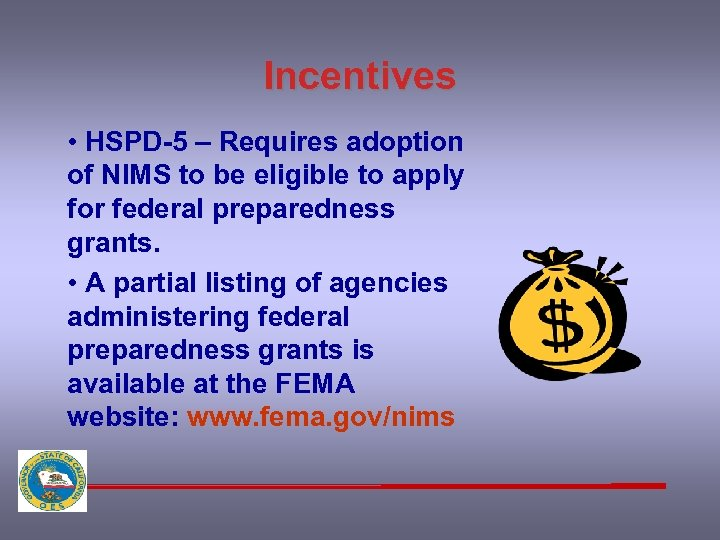 Incentives • HSPD-5 – Requires adoption of NIMS to be eligible to apply for