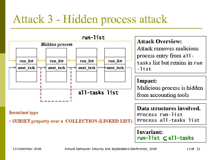 Attack 3 - Hidden process attack run-list Hidden process run_list next_task all-tasks list Invariant